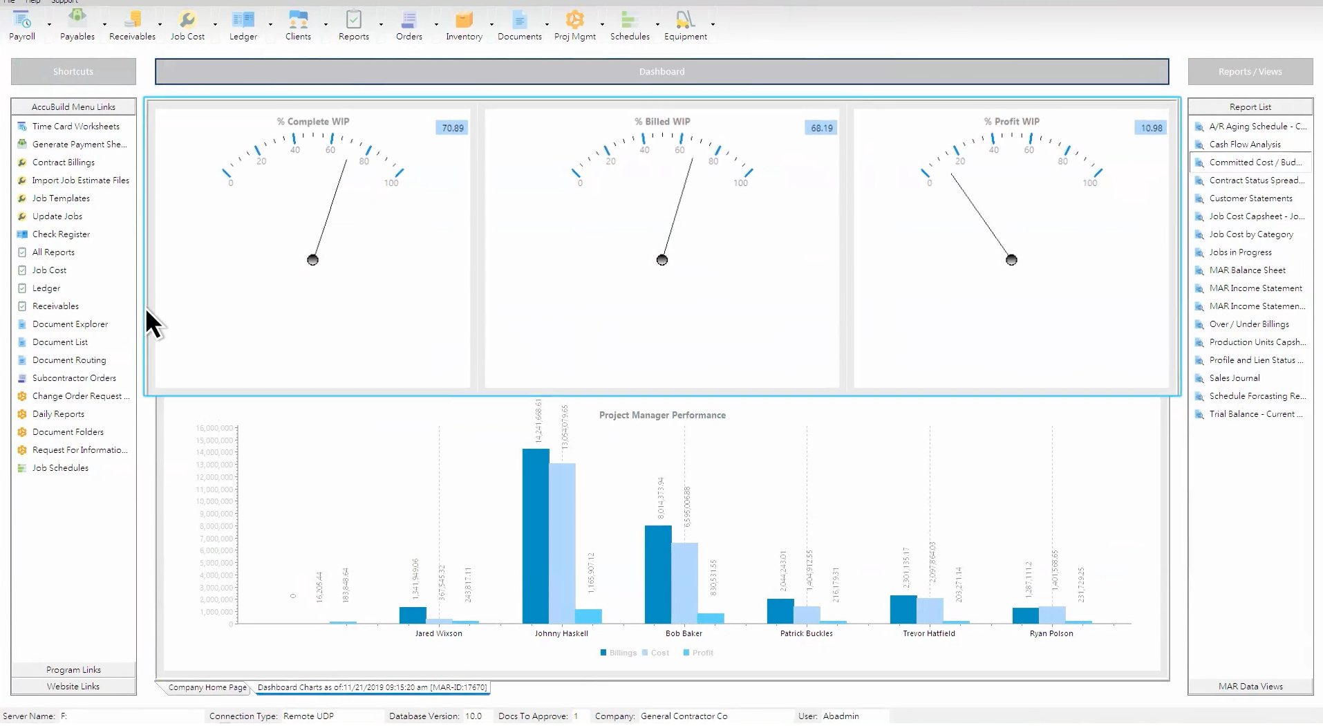 Screenshot of AccuBuild's business intelligence dashboard