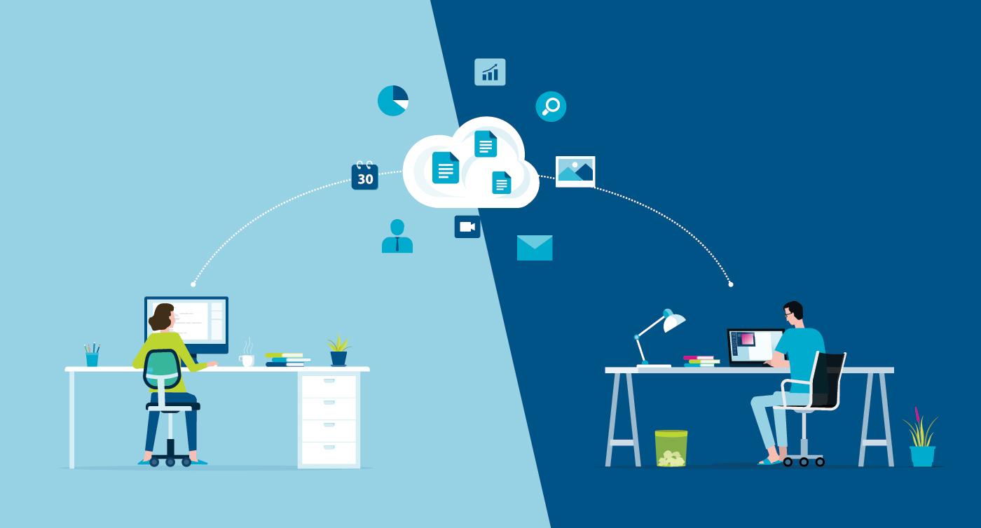 Illustration of cloud-based SAAS architecture