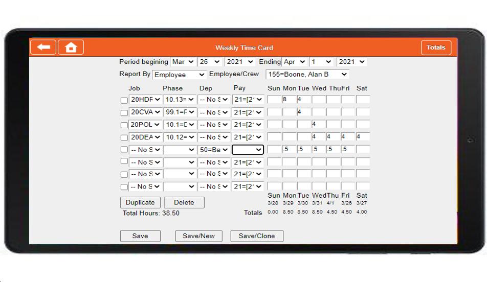 Screenshot of AB Mobile on Tablet