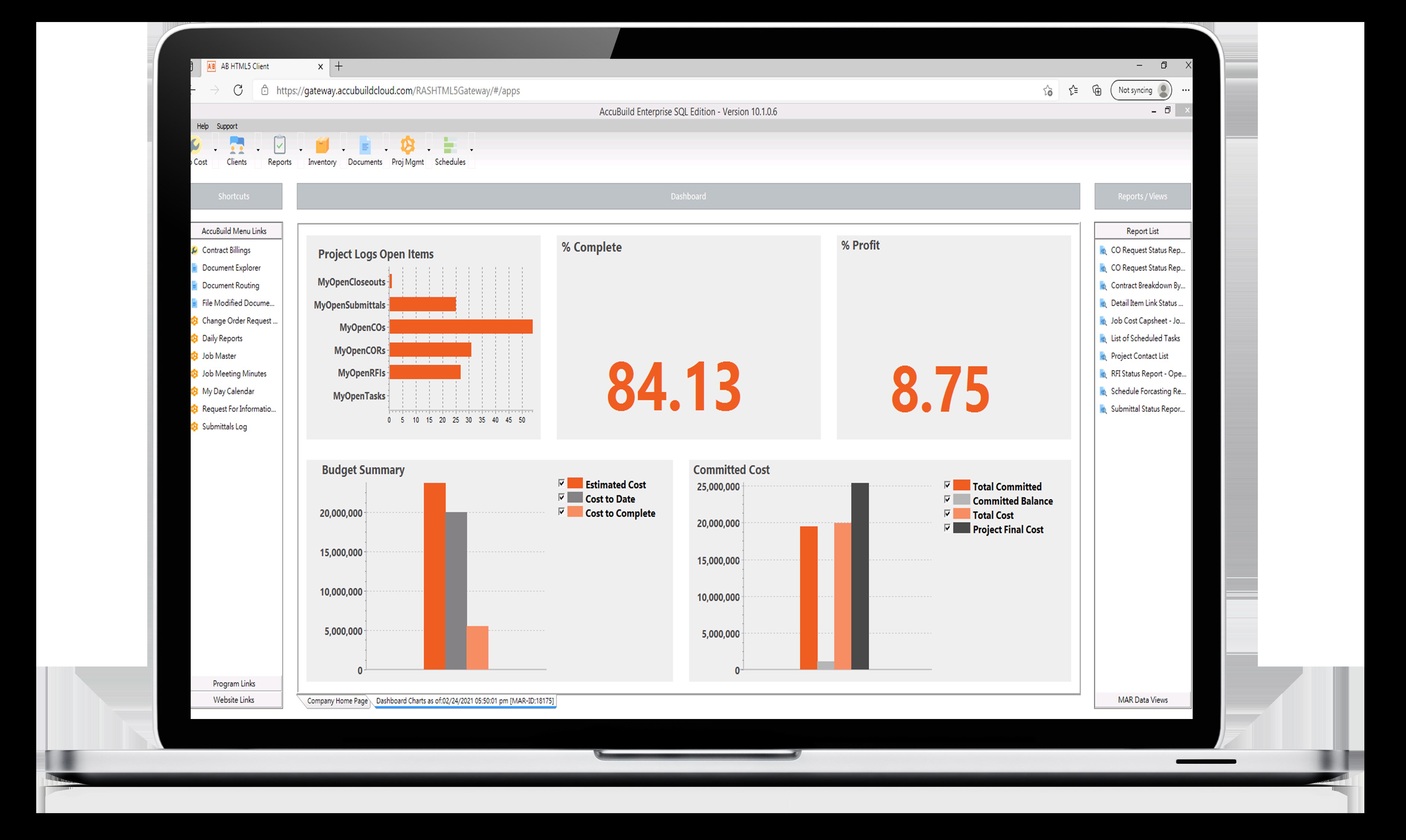 Screenshot fo AccuBuild Enterprise SaaS